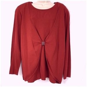 Liz Claiborne Sweater 1X Red Mock Twinset Cardigan